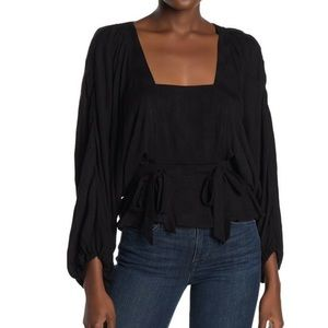 Parker puff sleeve square neck top